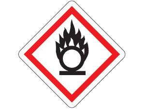 Gefahrensymbol ghs03-flamme über einem kreis