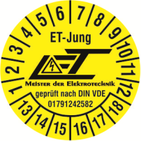 Prüfplakette für elektrische Prüfung