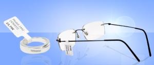Preis-Etiketten mit Steg an Ring und Brillengestell