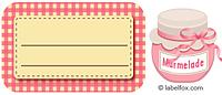 Etiketten rosakariert mit Marmeladenglas mittel