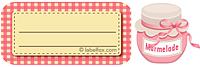 Etiketten rosakariert mit Marmeladenglas klein