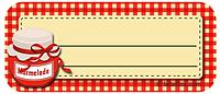 Marmeladenetiketten rotkariert mit Marmeladenglas mittel