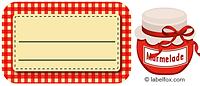 Etiketten rotkariert mit Marmeladenglas mittel