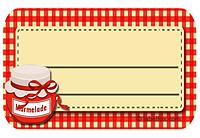 Etiketten rotkariert mit Marmeladenglas groß