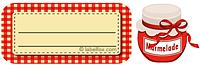 Etiketten rotkariert mit Marmeladenglas klein