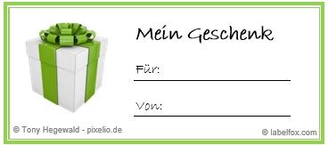 Geschenk grün Etikettenvorlage