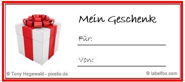 Geschenk rot Etikettenvorlage