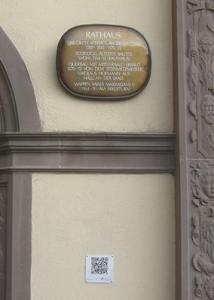 QR-Code am Schweinfurter Rathaus