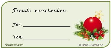 Weihnachtskugel Etikettenvorlagen