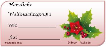 Weihnachtsstern Etikettenvorlagen