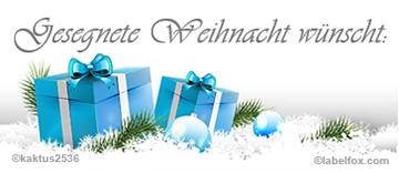 Weihnachtsgeschenke blau, Etikettenvorlagen