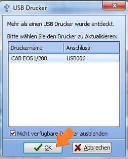 Das Druckermodell für den Download bestätigen