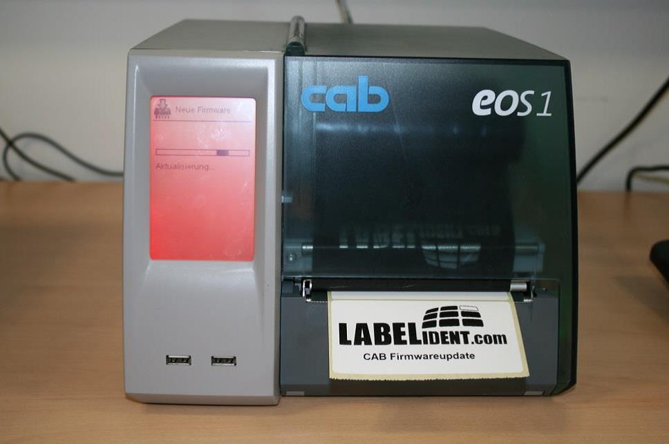 Etikettendrucker im Update-Modus