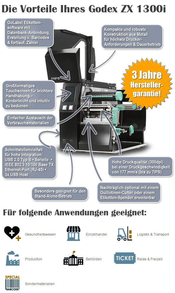 Vorteile Godex ZX1300i Etikettendrucker