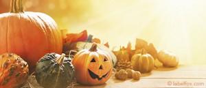 Etikettenvorlage: Herbst und Halloweenkürbis