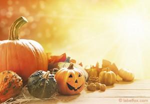 Etikettenvorlage: Herbst mit Halloween-Kürbis groß
