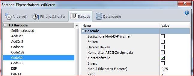 Barcode auswählen